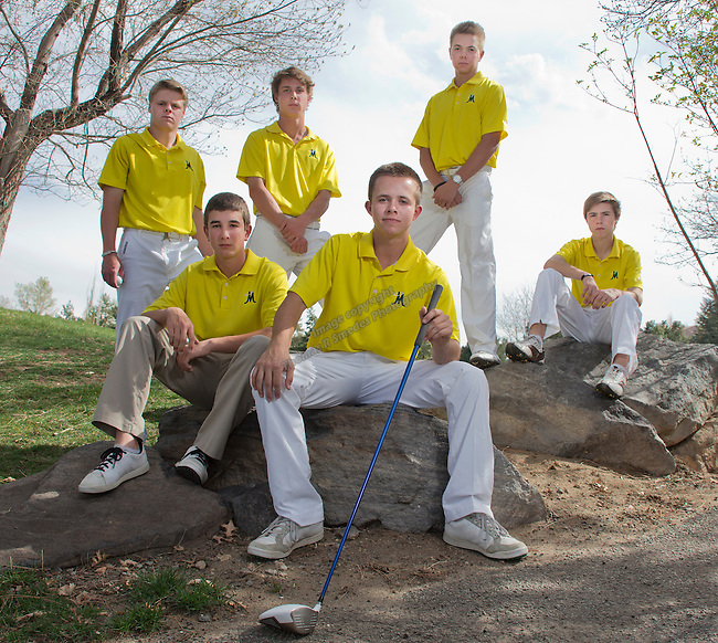 The Manogue Golf team, clockwise from top left:  Stephen Osborne, Jens Verhey, Harrison Holetz, Michael Bove, Nick Turner and Karl Beidle at Lakeridge Golf Course on Friday afternoon, April 11, 2014.