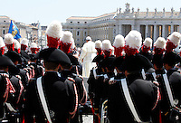 Papa Francesco tiene un'udienza ai componenti dell'Arma dei Carabinieri in occasione del bicentenario della fondazione, in Piazza San Pietro, Citta' del Vaticano, 6 giugno 2014.<br /> Pope Francis arrives for an audience with Carabinieri paramilitary police corps' members on the occasion of the 200th anniversary foundation, in St. Peter's Square, Vatican City, 6 June 2014.<br /> UPDATE IMAGES PRESS/Isabella Bonotto<br /> <br /> STRICTLY ONLY FOR EDITORIAL USE