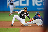 Erie SeaWolves shortstop Sergio Alcantara (1) tags Brett Netzer (3) sliding into second base during an Eastern League game against the Portland Sea Dogs on June 17, 2019 at UPMC Park in Erie, Pennsylvania.  Portland defeated Erie 6-3.  (Mike Janes/Four Seam Images)
