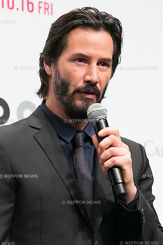 Canadian actor Keanu Reeves speaks during the Japanese premiere for the film John Wick on September 30, 2015, Tokyo, Japan. The movie will be released in Japanese theatres on October 16. (Photo by Rodrigo Reyes Marin/AFLO)