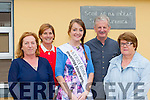 Kerry Rose Julett Culloty with Principal Trish O'Shea and her former teachers at Anablath NS, Kilcummin when she visited the school on Friday l-r: Brid Forde, Trish O'Shea, Julett Culloty, Paddy O'Sullivan and Sheila O'Leary