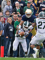The Irish got a fourth quarter break when this apparent interception on a pass attempt to wide receiver Corey Robinson (88) was ruled pass interference.