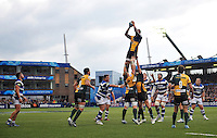 Courtney Lawes rises high to win lineout ball. Amlin Challenge Cup Final, between Bath Rugby and Northampton Saints on May 23, 2014 at the Cardiff Arms Park in Cardiff, Wales. Photo by: Patrick Khachfe / Onside Images