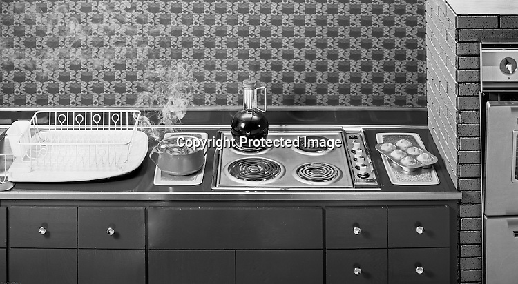 Pittsburgh PA: Studio Photography of an all Electric Kitchen for Westinghouse Electric Company 1961. Photograph was used in a brochure highlighting new homes with all electric appliances