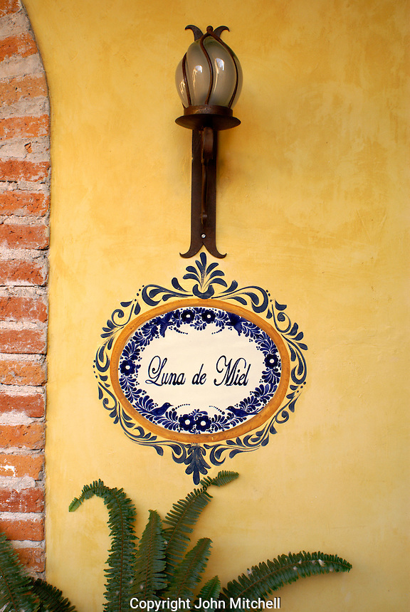 Honeymoon suite sign in the Posada de las Minas hotel  in the 19th century mining town of Mineral de Pozos, Guanajuato, Mexico.