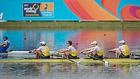 Sarasota. Florida USA.  Gold Medalist. AUS M4- bow. Joshua  HICKS, Spencer TURRIN, Jack HARGREAVES and  Alexander HILL, 2017 World Rowing Championships, Nathan Benderson Park<br /> <br /> Saturday  30.09.17   <br /> <br /> [Mandatory Credit. Peter SPURRIER/Intersport Images].<br /> <br /> <br /> NIKON CORPORATION -  NIKON D4S  lens  VR 500mm f/4G IF-ED mm. 200 ISO 1/2000/sec. f 4