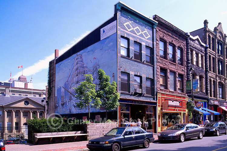 Retail Shops and Heritage Buildings on Barrington Street, in Downtown Halifax, Nova Scotia, Canada