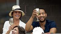 September 2, 2012: Model Chrissy Teigen and singer John Legend visit the Moet & Chandon Suite during Day 7 of the 2012 U.S. Open Tennis Championships at the USTA Billie Jean King National Tennis Center in Flushing, Queens, New York, USA. Credit: mpi105/MediaPunch Inc. /NortePhoto.com<br />