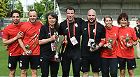 20180526 - Eupen , BELGIUM : Standard's technical staff pictured with the Belgian Cup after  the final of Belgian cup 2018 , a soccer women game between KRC Genk Ladies and Standard Femina de Liege  , in the  Kehrweg stadion in Eupen , saturday 26 th May 2018 . PHOTO SPORTPIX.BE   DIRK VUYLSTEKE