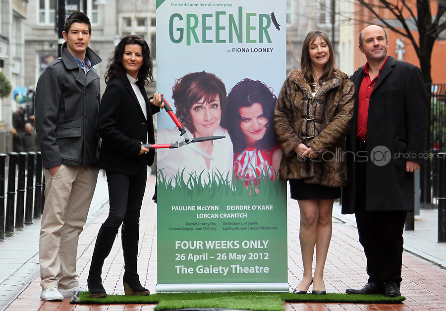 ****NO REPRODUCTION FEE PICTURE***.06/02/12 Pauline McLynn who plays Noirin, Lorcan Cranitch who play Frank, Deirdre O'Kane who plays Jean and Ryan Andrews as Davey pictured this afternoon at the Gaiety Theatre, Dublin at the launch of details of the new Fiona Looney play, 'Greener'...The play opens on 1st May 2012...Picture Colin Keegan, Collins, Dublin. ****NO REPRODUCTION FEE PICTURE****