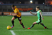 Newport County's Cameron Pring under pressure from Colchester United's Sammie Szmodics<br /> <br /> Photographer Kevin Barnes/CameraSport<br /> <br /> The EFL Sky Bet League Two - Newport County v Colchester United - Saturday 17th November 2018 - Rodney Parade - Newport<br /> <br /> World Copyright © 2018 CameraSport. All rights reserved. 43 Linden Ave. Countesthorpe. Leicester. England. LE8 5PG - Tel: +44 (0) 116 277 4147 - admin@camerasport.com - www.camerasport.com