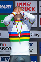 Picture by Alex Whitehead/SWpix.com - 25/09/2018 - Cycling - UCI 2018 Road World Championships - Innsbruck-Tirol, Austria - Junior Men's Individual Time Trial - Remco Evenepoel of Belgium wins Gold.