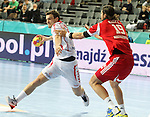 21.01.2013 Barcelona, Spain. IHF men's world championship, Eighth Final. Picture show Jurecki  in action during game Hungary vs Poland at Palau St Jordi