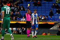 27th February 2020; RCDE Stadium, Barcelona, Catalonia, Spain; UEFA Europa League Football, Real Club Deportiu Espanyol de Barcelona versus Wolverhampton Wanderers;  Victor Sanchez receives a Yellow card from the referee