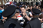 © Joel Goodman - 07973 332324 . 27/05/2013 . London , UK . The EDL march along Whitehall and hold a demonstration opposite Downing Street today (Monday 27th May 2013) . Photo credit : Joel Goodman