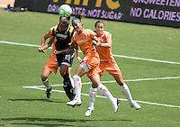 LA Sol's Sharolta Nonen battles Sky Blue FC forward Natasha Kai late in the Championship match. The Sky Blue FC defeated the LA Sol 1-0 to win the WPS Final Championship match at Home Depot Center stadium in Carson, California on Saturday, August 22, 2009...