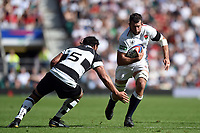 Josh Beaumont of the England XV takes on Chris Vui of the Barbarians. Quilter Cup International match between England XV and the Barbarians on June 2, 2019 at Twickenham Stadium in London, England. Photo by: Patrick Khachfe / Onside Images