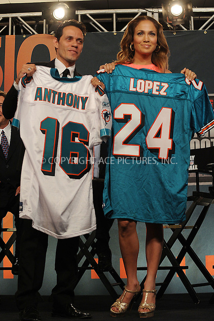 WWW.ACEPIXS.COM . . . . . ....July 21 2009, New York City....Marc Anthony and Jennifer Lopez at the NFL, ESPN/ESPN Deportes and Miami Dolphins press conference at the Time Warner Center on July 21, 2009 in New York City.....Please byline: KRISTIN CALLAHAN - ACEPIXS.COM.. . . . . . ..Ace Pictures, Inc:  ..tel: (212) 243 8787 or (646) 769 0430..e-mail: info@acepixs.com..web: http://www.acepixs.com