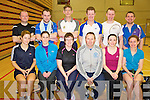 Ruth Concannon, Fiona O'Shea, Carmel Hudson, Mark Loughnane, Fiona Boyle, Catherine Murphy, Wayne Doyle, Pat Kearney, Martin Knightly, John O'Brien, Fergus McCarthy and Donnacha Moloney, the Kerry badminton team who competed in the class 5 Munster competition in the Killarney Sports and Leisure centre on Sunday.