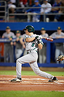 Siena Saints shortstop Marcos Campos (9) at bat during a game against the Florida Gators on February 16, 2018 at Alfred A. McKethan Stadium in Gainesville, Florida.  Florida defeated Siena 7-1.  (Mike Janes/Four Seam Images)