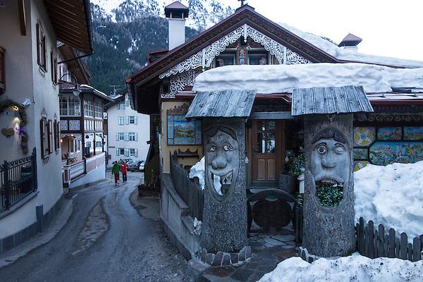 Tree art in Canazei, Dolomites, Italy, Europe 2014,