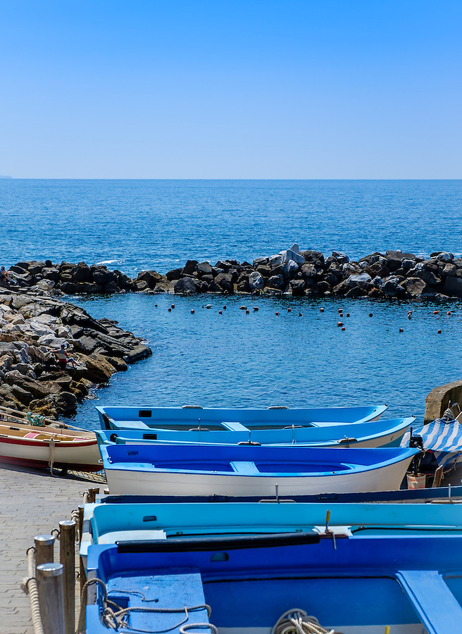 RIOMAGGIORE, ITALY - CIRCA MAY 2015:  Boats in the village of Riomaggiore in Cinque Terre, Italy.