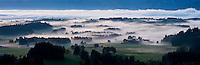 Low fog coveres rural countryside near Fuessen in the Allgäu region of southern Bavaria, Germany
