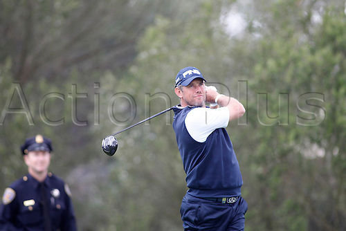 01.05.2015. San Francisco, California, USA.  Lee Westwood watches his tee shot off of 4 during the third round of the World Golf Championships at Harding Park in San Francisco, CA.