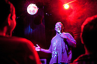 "Comedian Hannibal Buress performs at the ""Too Cool for School"" show at Coco 66 in Brooklyn, NY, on July 3, 2009."