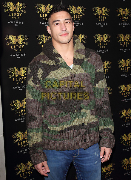 Ashley McKenzie<br /> Lipsy VIP Fashion Awards at DSTRKT, London, England.<br /> May 29th 2013<br /> half length green camouflage knitted jumper sweater top cardigan <br /> CAP/ROS<br /> &copy;Steve Ross/Capital Pictures