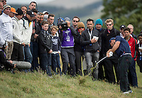 27.09.2014. Gleneagles, Auchterarder, Perthshire, Scotland.  The Ryder Cup.  Patrick Reed [USA] plays out of the rough on the third hole.  Saturday Foursooms.