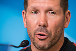 Atletico de Madrid coach Diego Simeone during press conference day before UEFA Champions League match between FK Qarabag and Atletico de Madrid at Wanda Metropolitano in Madrid, Spain. October 30, 2017. (ALTERPHOTOS/Borja B.Hojas)