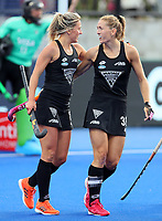 Gemma McCaw and Stacey Michelsen during the Pro League Hockey match between the Blacksticks women and Argentina, Nga Punawai, Christchurch, New Zealand, Sunday 1 March 2020. Photo: Simon Watts/www.bwmedia.co.nz