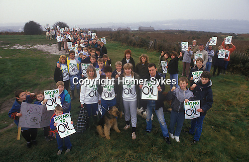 Local campaigners Say No to Oil drilling East Sussex at Fairlight Down Norths Seat. Amoco the American oil giant, were trying to get permission, that was in the end refused. 1982. 1980s  UK.