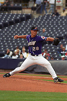 Akron Aeros pitcher Jeremy Guthrie (28) delivers a pitch during a game against the Altoona Curve at Canal Park circa May 2003 in Akron, Ohio.  (Mike Janes/Four Seam Images)