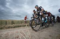 Julien Vermote (BEL/Etixx-Quickstep) & Tyler Farrar (USA/MTN-Qhubeka) on the cobbled sector of Artres (1200m)<br /> <br /> stage 4: Seraing (BEL) - Cambrai (FR) <br /> 2015 Tour de France