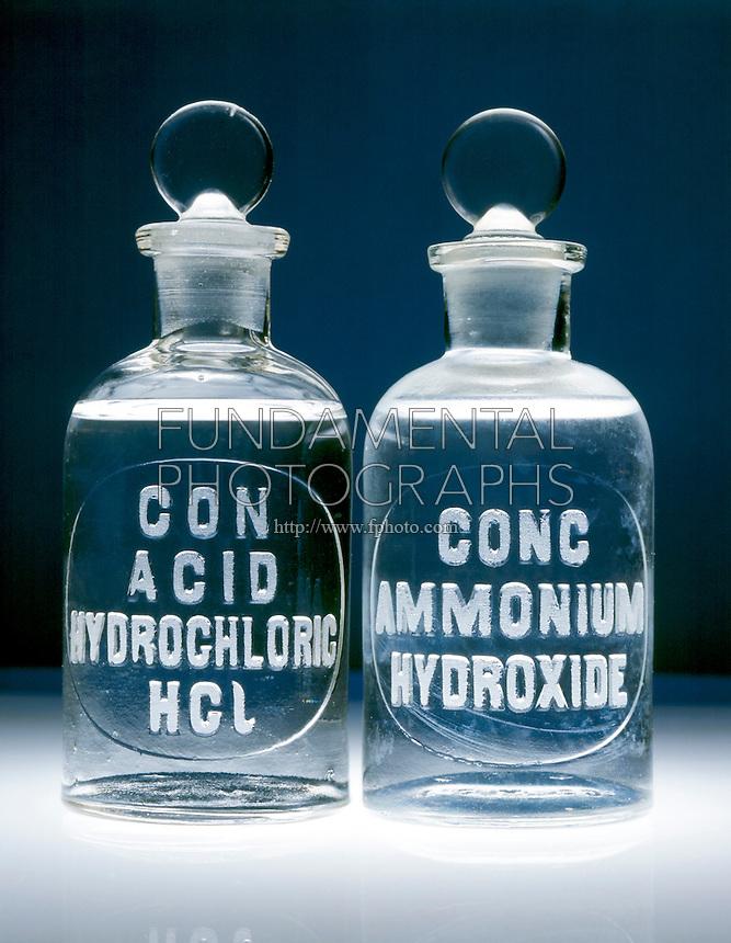 HYDROCHLORIC ACID & AMMONIUM HYDROXIDE<br /> HCl(aq) & NaOH(aq) In Vintage Reagent Bottles.