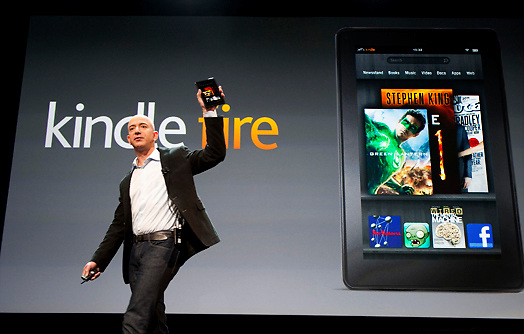 Jeff Bezo, CEO of Amazon, introducing the Kindle Fire at a press event.