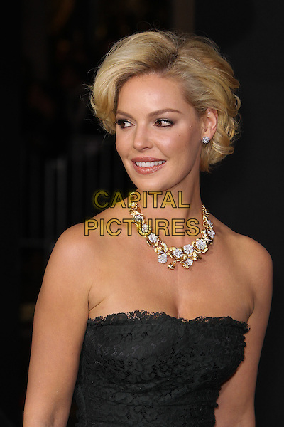 """Katherine Heigl.The World Premiere of """"New Year's Eve' held at The Grauman's Chinese Theatre in Hollywood, California, USA..December 5th, 2011.headshot portrait black strapless lace gold diamond necklace jewellery jewelry .CAP/CEL .©CelPh/Capital Pictures."""