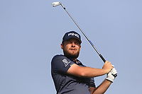 Tyrrell Hatton (ENG) on the 4th tee during Round 3 of the Omega Dubai Desert Classic, Emirates Golf Club, Dubai,  United Arab Emirates. 26/01/2019<br /> Picture: Golffile | Thos Caffrey<br /> <br /> <br /> All photo usage must carry mandatory copyright credit (© Golffile | Thos Caffrey)