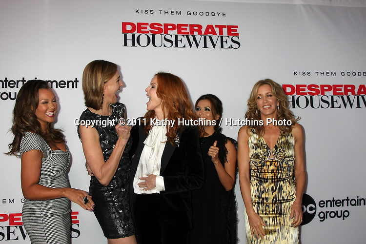 "LOS ANGELES - SEPT 21:  Vanessa L. Williams Brenda Strong, Marcia Cross, Eva Longoria, Felicity Huffman arriving at the ""Desperate Housewives"" Final Season Kick-Off Party at Wisteria Lane, Universal Studios on September 21, 2011 in Los Angeles, CA"