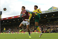 Jack Grealish of Aston Villa in action and Jamal Lewis of Norwich City during Norwich City vs Aston Villa, Premier League Football at Carrow Road on 5th October 2019