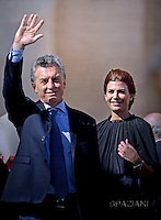 "Argentina's President Mauricio Macri  and his wife Juliana Awada . Pope Francis  leads a canonization mass on October 16, 2016 at St Peter's square in Vatican. Pope Francis canonises Argentine ""gaucho priest"" Jose Gabriel Brochero today along with six others raised to sainthood : Salomon Leclercq, Jose Sanchez del Río, Manuel Gonzalez Garcia, Lodovico Pavoni, Alfonso Maria Fusco and Elizabeth of the Trinity."