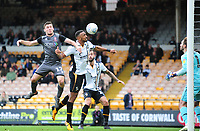 Port Vale's Leon Legge scores an own goal for Lincoln City's 3rd under pressure from Lincoln City's Shay McCartan<br /> <br /> Photographer Andrew Vaughan/CameraSport<br /> <br /> The EFL Sky Bet League Two - Port Vale v Lincoln City - Saturday 13th October 2018 - Vale Park - Burslem<br /> <br /> World Copyright © 2018 CameraSport. All rights reserved. 43 Linden Ave. Countesthorpe. Leicester. England. LE8 5PG - Tel: +44 (0) 116 277 4147 - admin@camerasport.com - www.camerasport.com