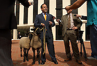 "TALLAHASSEE, FL. 3/3/04-Scott Maddox, chairman of the Florida Democratic Party, is joined by two sheep he said were named ""Bo"" and ""Peep"" during a news conference where he criticized Republican lawmakers as sheep who blindly follow their leader, Wednesday at the Capitol in Tallahassee.  Maddox's talk was in response to comments made recently by House Speaker Johnnie Byrd, R-Plant City, when he compared legislators to sheep. COLIN HACKLEY PHOTO"