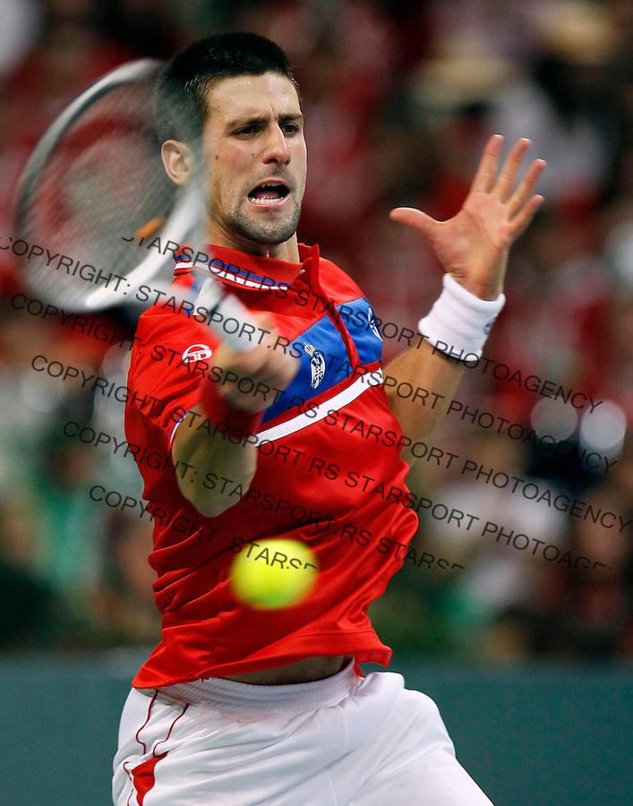 Tenis, Davis Cup 2010.Serbia Vs. France, final.Novak Djokovic Vs. Gilles Simon.Final.Beograd, 03.12.2010..foto: Srdjan Stevanovic/Starsportphoto ©