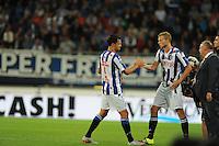 VOETBAL: HEERENVEEN: Abe Lenstra Stadion 29-08-2015, SC Heerenveen - PEC Zwolle, uitslag 1-1, Mitchel Te Vrede (#9) en Henk Veerman (#20), ©foto Martin de Jong