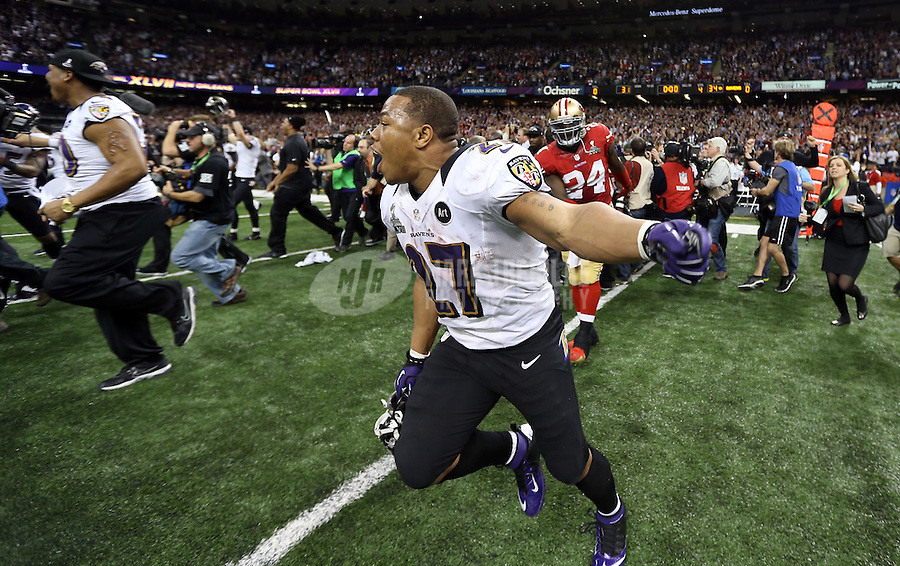 Feb 3, 2013; New Orleans, LA, USA; Baltimore Ravens running back Ray Rice (27) celebrates after defeating the San Francisco 49ers in Super Bowl XLVII at the Mercedes-Benz Superdome. Mandatory Credit: Mark J. Rebilas-