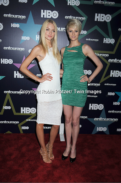 """models Lindsay Ellingson and Louise Donigan attending The Eighth and Final Season Premiere of the HBO Show """"Entourage"""" on July 19, 2011 at The Beacon Theatre in New York City."""