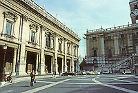 "Italy: Rome--Braccio Nuovo (left building of Campidoglio. The square is a trapezium--forming an ""inverse perspective"". Photo '83."